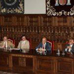Autoridades de la Universidad de Alcalá y de la OISS: de izquierda a derecha: Vicente González Catalá, Juan Ramón Velasco, Adolfo Jiménez Fernández y Francisco M. Jacob Sánchez