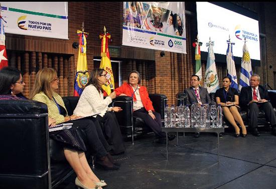 La Secretaria General de la OISS , Gina Magnolia Riaño Barón, durante su intervención
