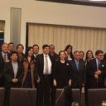 En la foto (en el centro de negro) la Secretaria General de la OISS, Gina Magnolia Riaño Barón, con el director del CIFOISS, Contrado Gomez (izq.), el Director (e) del Centro Regional, Gustavo Riveros (a su derecha) y los demás participantes en la reunión