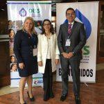 La Secretaria General de la OISS con la Directora del INSS de Brasil y el Ministro de Trabajo de Honduras