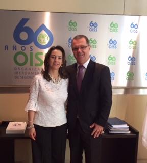 La Secretaria General de la OISS, Gina Magnolia Riaño Barón y el Secretario Executivo del Ministerio de Previdencia Social de Brasil y Vicepresidente de la OISS, Carlos Eduardo Gabas