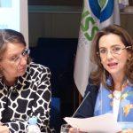 A la izquierda la Secretaria General Iberoamericana, Rebeca Grynspan y la Secretaria General de la OISS, Gina Magnolia Riaño Barón, durante su intervención