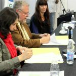 La Presidenta del Consejo Nacional de las Mujeres, Da. Mariana A. Gras Buscetto, y el Director Regional, Dr. Carlos A. Garavelli, al momento de la firma del Convenio. Acompaña la Lic. Gabriela Groba, enlace OISS - ANSES en la temática.