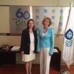 En la foto la Secretaria General de la OISS, Gina Magnolia Riaño Barón y la Directora General del INSS de España, Maria Eugenia Martín Mendizábal