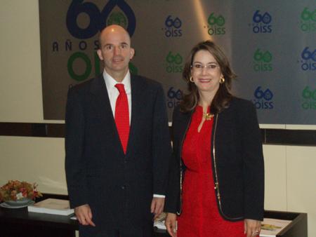 José Antonio González Anaya, Director General del Instituto Mexicano del Seguro Social y Gina Magnolia Riaño Barón, Secretaria General de la OISS