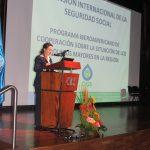 La Secretaria General de la OISS, Gina Magnolia Riaño Barón, durante su presentación