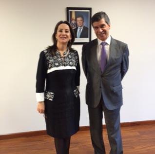 Gina Magnolia Riaño Barón, Secretaria General de la OISS y  Rafael Pardo, Ministro de Trabajo de Colombia