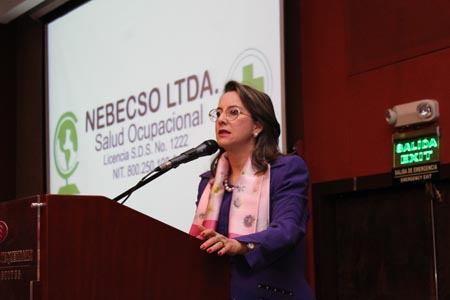 La Secretaria General de la OISS, Gina Magnolia Riaño Barón, en su intervención en el Plenario del Congreso