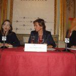De izquierda a derecha: Gina Magnolia Riaño Barón, Secretaria General de la OISS, Laura Lopéz de Cerain, Directora de Cooperación Multilateral, Horizotal y Financiera de la AECID; Maria Lahore, Ejecutiva de la Oficina para Europa de la CAF