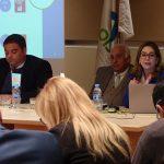 El ministro de Trabajo, Empleo y Seguridad Social de Argentina, Jorge Triaca, el vicesecretario general de la OISS; Francisco M. Jacob Sánchez y la secretaria general de la OISS, Gina Magnolia Riaño Barón