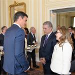 De izquierda a derecha el Presidente de Gobierno de España, Pedro Sánchez, el Presidente de Colombia, Iván Duque y la secretaria general de la OISS, Gina Magnolia Riaño Barón