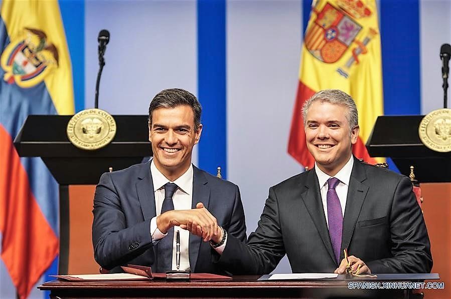 En la foto de izquierda a derecha el Presidente de Gobierno de España, Pedro Sánchez y el Presidente de Colombia, Iván Duque