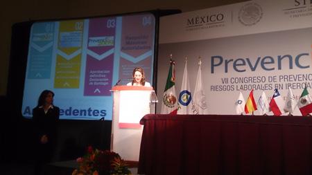La Secretaria General de la OISS, Gina Magnolia Riaño Barón, en la confererencia de apertura