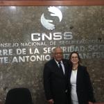 En la foto la secretaria general de la OISS y el Gerente del Consejo Nacional de Seguridad Social de República Dominicana, Rafael Pérez Modesto