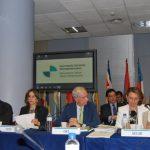 De izquierda a derecha: el Secretario General OIJ, Alejo Ramirez; la Secretaria General de la OISS, Gina Magnolia Riaño Barón; eL Secretario General de la OEI, Álvaro Marchesi Ullastres y la la Secretaria General Iberoamericana Rebeca Grynspan