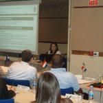 """La Secretaria General de la OISS, Gina Magnolia Riaño Barón, impartiendo la ponencia """"Programas de la OISS. El Convenio Multilateral Iberoamericano de Seguridad Social"""""""
