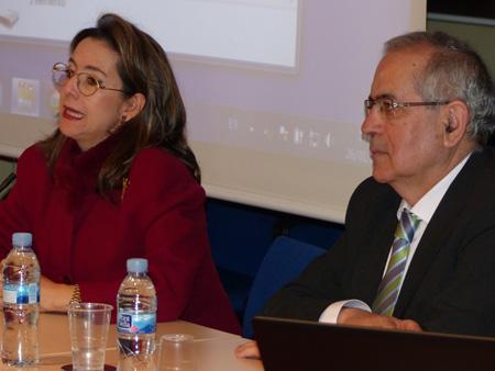 En la foto la Secretaria General de la OISS, Gina Magnolia Riaño Barón y consejero técnico de cooperación con Iberoamérica del Instituto de Mayores y Servicios Sociales (IMSERSO) de España, José María Alonso Seco