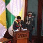 El Presidente del Estado Plurinacional de Bolivia; Evo Morales, en el discurso de posesión