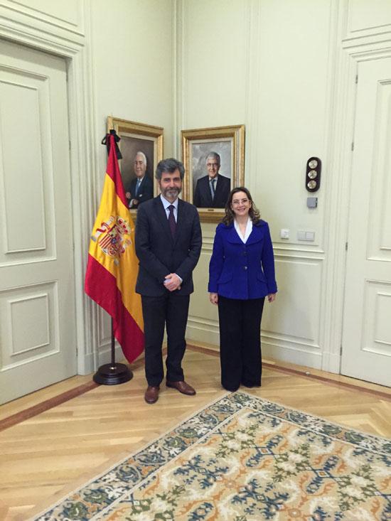 Raunión de la Secretaria General de la OISS y el Presidente del Tribunal Supremo y del Consejo General del Poder Judicial