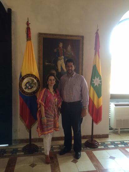 Gina Magnolia Riaño Barón, Secretaria General de la OISS y Dionisio Vélez Trujillo, Alcalde de Cartagena de Indias.