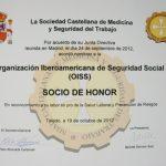 """Premio """"Socio de Honor de la SCMST"""" otorgado a la OISS"""
