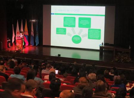 La Secretaria General de la OISS, Gina Magnolia Riaño Barón, durante su intervención